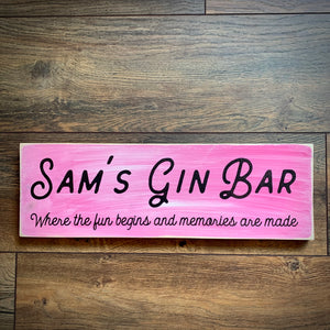 Personalised Gin Bar Wooden Sign - Large - Pink
