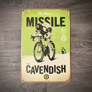 Mark Cavendish Manx Missile Tin Retro Cycling Sign