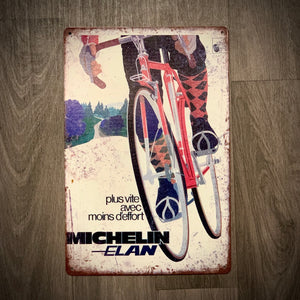 Michelin Elan Tin Retro Cycling Sign