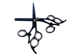 Professional Hairdressing Hair Cutting Shears 3 ring Black swivel Scissors Thinning Set 6.0""