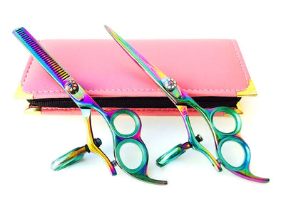 3 Ring Thumb Swivel Professional Hair Cutting Thinning Scissors Set 6.0""