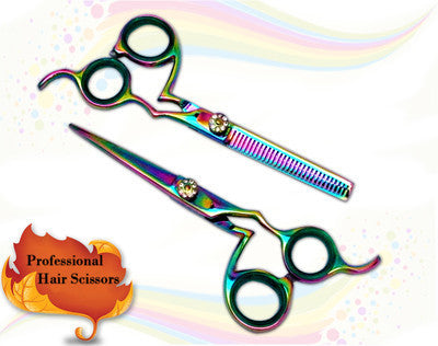 Hair Salon Cutting Shears Titanium Color Thinning Set 5.5""
