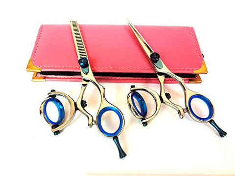 Thumb Swivel Thinner Hair Cutting Shears Barber Salon Styling Scissors Set 5.5