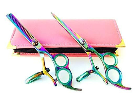 Barber Scissors Set Titanium Thumb Swivel Scissors Shears 6.0""