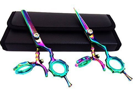Titanium Thumb Swivel Hair Cutting Thinning Shears Set 5.5""