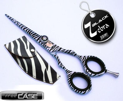 Barber Shop Tools Zebra Black Scissors Shears 5.5