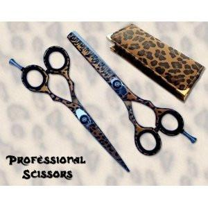 Japanese Scissors Leopard Brown Cutting & Thinning Shears
