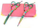 Left Hand Titanium Hair Cutting Thinning Shears Set 5.5""