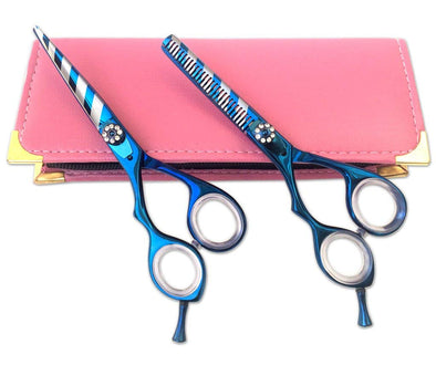 Left HandBlue Zebra Hairdressing Salon Scissors Shears Kit 5.5