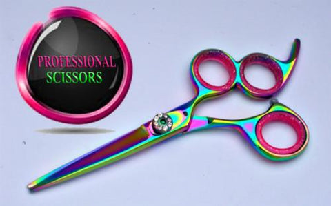 3 Ring Titanium Razor Scissors Hair Shears 5.5