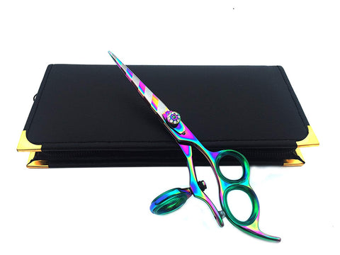 Titanium Zebra 3 Ring Thumb Swivel Hair Cutting Scissors Shears 6.0""