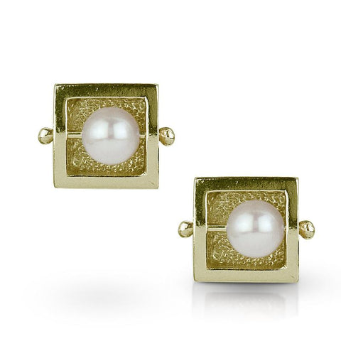 Square Abacus Pearl Earring by Danielle Miller