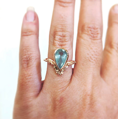 Piper Ring: Moss Aquamarine and 14k rose Gold