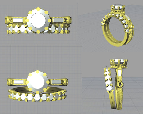 CAD rendering of a custom engagement ring and wedding band