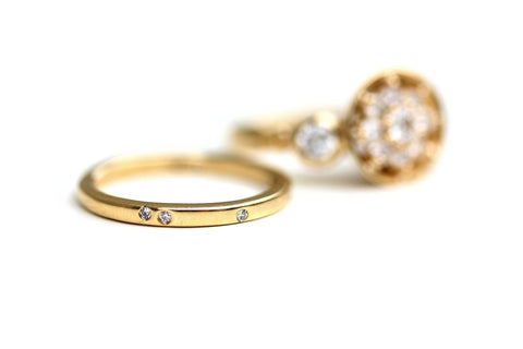 Redesigned and Repurposed Engagement Ring Set by Katie Poterala