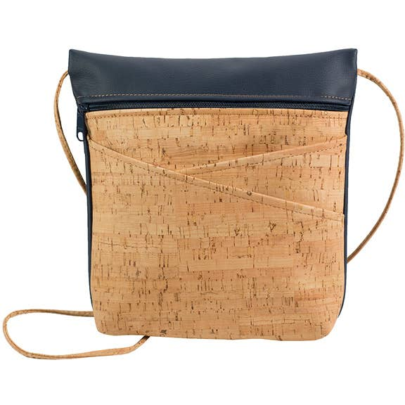 Be Lively - 3 Criss Cross Pocket CrossBody Bag - Rustic Cork + Faux Leather