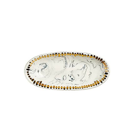 Oval Dish with Black Marbling & Gold Dashes - large
