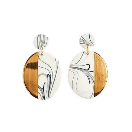 Large Oval Dangle Marbled Earrings