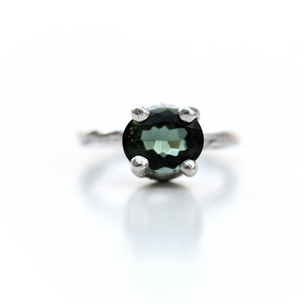 Green Quartz and Sterling Silver Organic Ring by Katie Poterala
