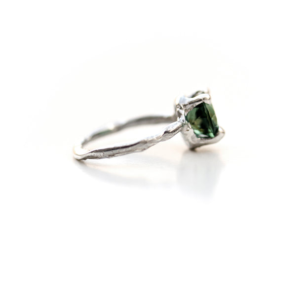 Side View, Green Quartz and Sterling Organic Ring by Katie Poterala Studio