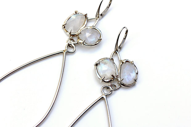 Sterling silver and Rainbow Moonstone dangle bridal earrings handmade by Katie Poterala