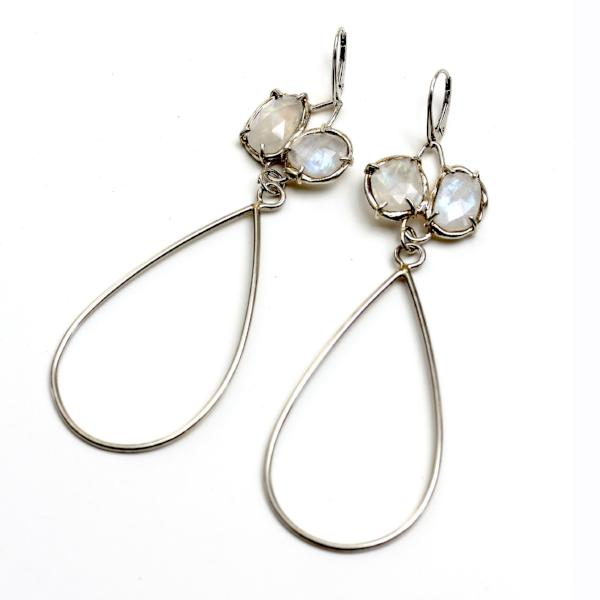 Handmade sterling silver dangle earrings with rainbow moonstone