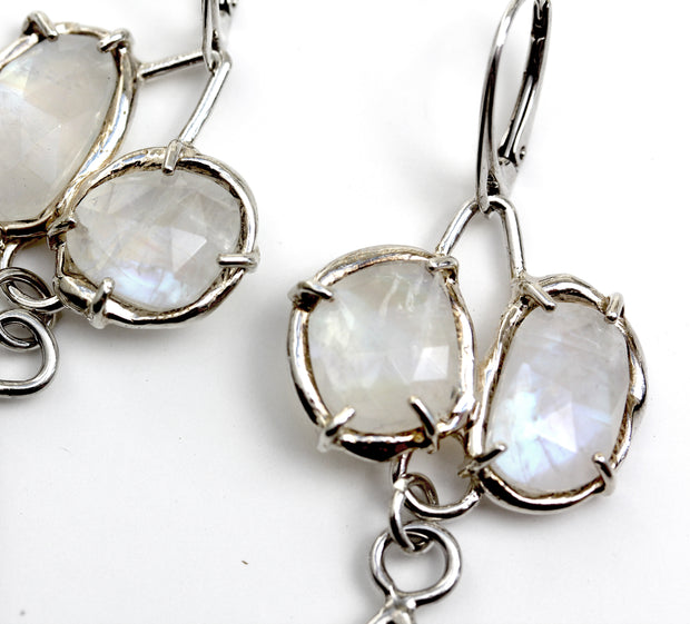Detail image of Rainbow Moonstone and sterling silver modern bridal earrings