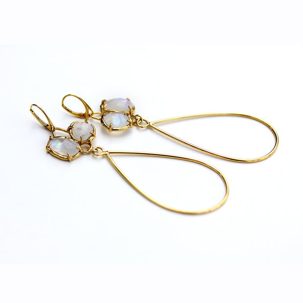 Handmade Adele Earrings in Gold Plated Sterling with Moonstone by Katie Poterala Jewelry