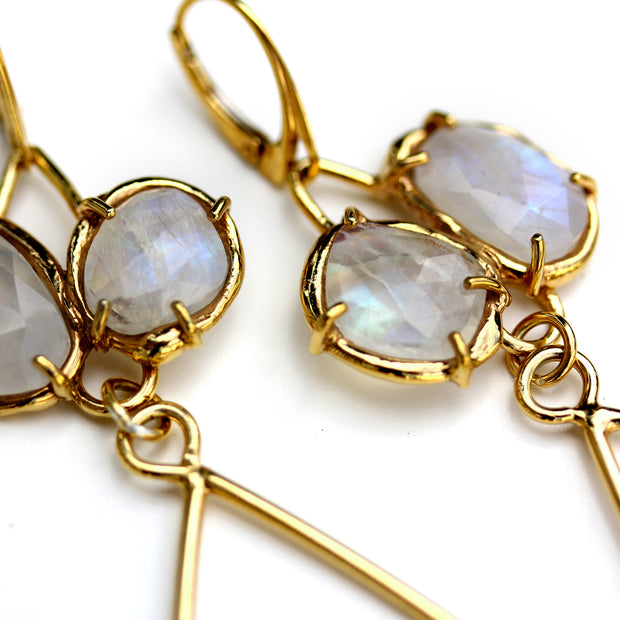Handmade Adele Earrings in Gold Plated Sterling with Moonstone by Katie Poterala Jewelry -- Detail