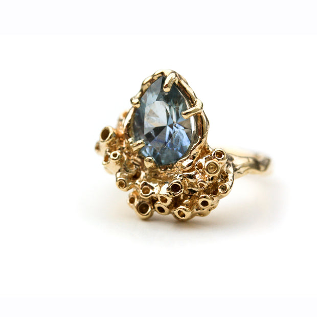 One of a kind Cornflower Sapphire handmade Ring with Coral or Seasponge Texture
