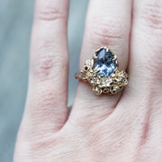 One of a kind Cornflower Sapphire handmade Ring with Coral or Seasponge Texture; Jewelry inspired by nature
