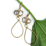 White topaz and gold earrings with long tear drop shaped dangle.