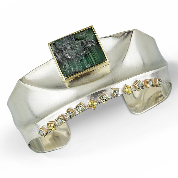 Green Tormaline And Fancy Colored Sapphire  - Ridge Cuff