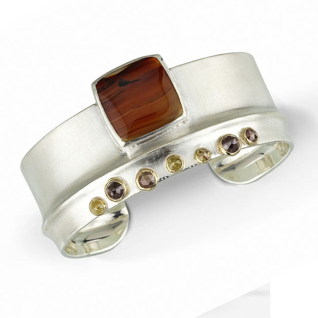 Montana Agate & Rose Cut Diamonds - Ridge Cuff