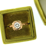 Organic Rose Gold Engagement Ring handmade with texture