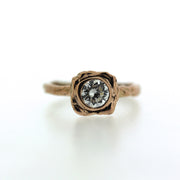unique alternative engagement ring, bezel set diamond or moissanite in choice of gold