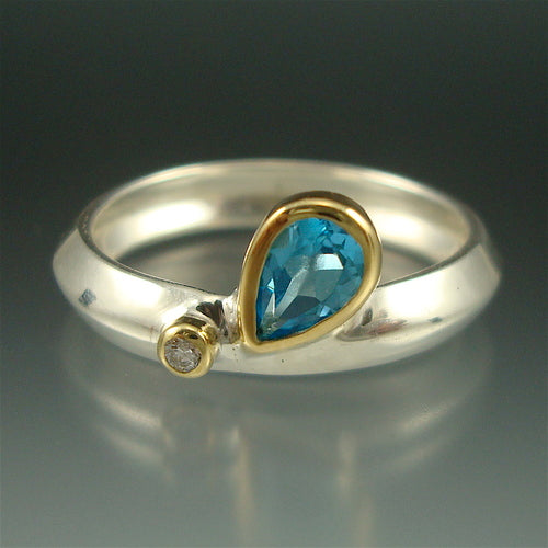 Blue Topaz Rain Drop Ring