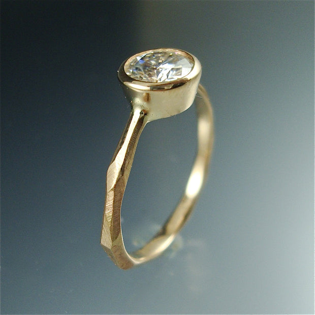 Thin Faceted Engagement Ring - yellow, white or rose gold