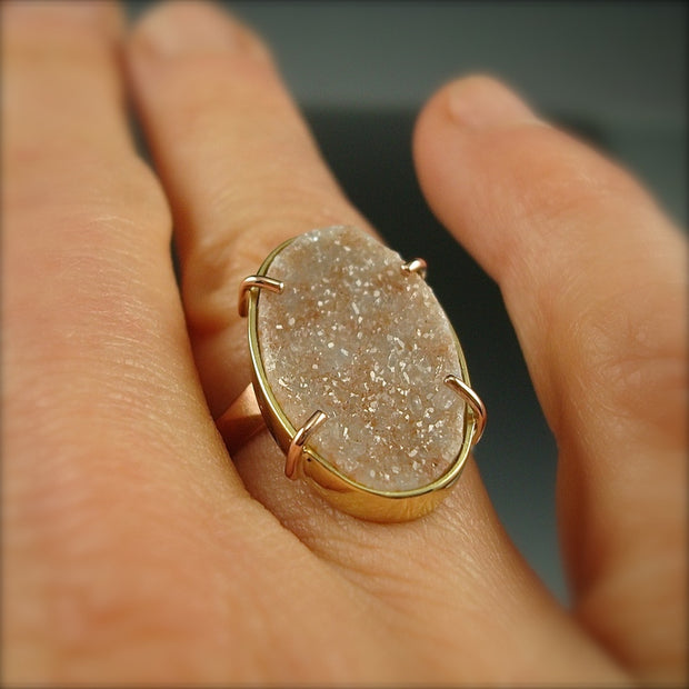 Peach Druzy Chiseled Ring
