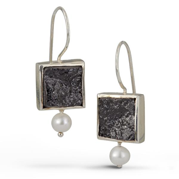French wire earrings with square raw surface black tourmaline gemstone is accented with a pearl.