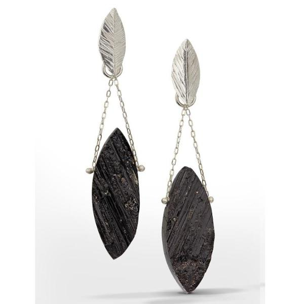 Chandelier Earring with marquise-shaped raw surface black tourmaline stones freely hanging from delicate chain and small sterling silver leaves.