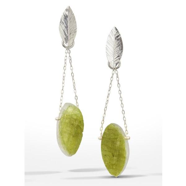 Chandelier Earring with marquise-shaped raw surface green tourmaline stones freely hanging from delicate chain and small sterling silver leaves.