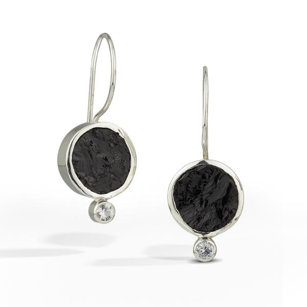 French wire earrings with round raw surface black tourmaline gemstone is accented with a small white sapphire.