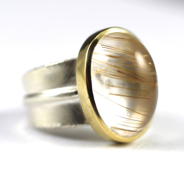 Golden Rutilated Quartz Ridge Ring