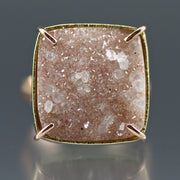 Peach Druzy Chiseled Ring #3