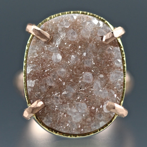 Peach Druzy Chiseled Ring #2