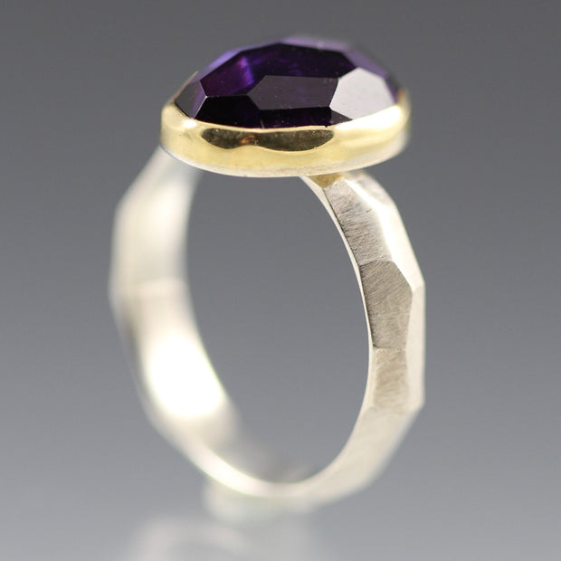 Rose Cut Amethyst Chiseled Ring