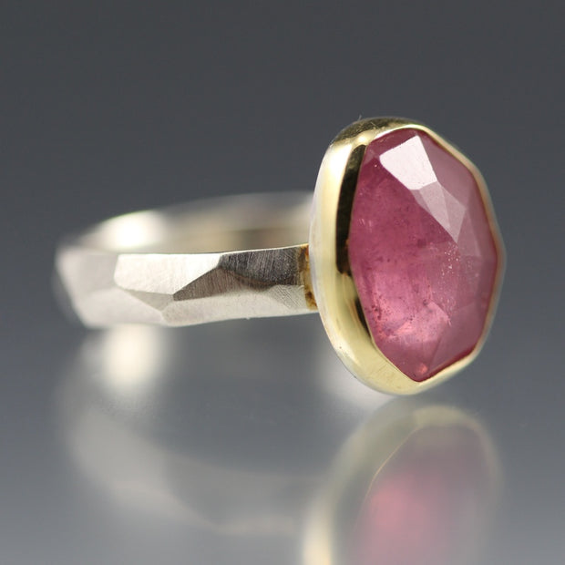 Rose Cut Pink Sapphire Chiseled Ring