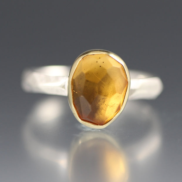 Rose Cut Citrine Chiseled Ring