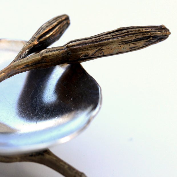 Handmade Salt Cellar or tiny serving dish in Sterling Silver and cast lily bud harvested in Greenville SC, detail shot